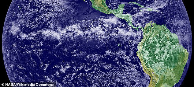 NASA image shows the Intertropical Convergence Zone as a layer of precipitation close to the equator where north and south winds meet